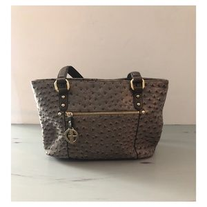 Ostrich-Embossed Tote Grey&Gold Shoulder Bag